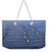 Aerial View Of Ships In Formation Weekender Tote Bag