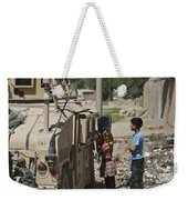 Afghan Children Ask U.s. Soldiers Weekender Tote Bag