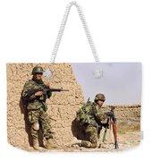 Afghan Soldiers Conduct A Dismounted Weekender Tote Bag by Stocktrek Images