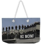 Ailors And Marines Man The Rails Aboard Weekender Tote Bag by Stocktrek Images