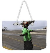Airman Checks The Takeoff Path Weekender Tote Bag