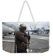 Airman Stands By With Tie-down Chains Weekender Tote Bag