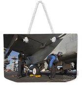 Airmen Chain Down An Fa-18e Super Weekender Tote Bag