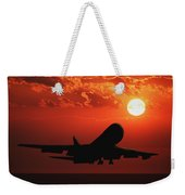 Airplane Landing At Sunset Weekender Tote Bag