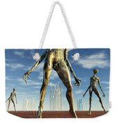 Alien Reptoid Beings Wearing Organic Weekender Tote Bag
