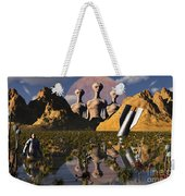 Aliens Watch An Astronaut Who Weekender Tote Bag
