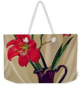 Amaryllis Lillies In A Dark Glass Jug Weekender Tote Bag