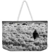 American Bison In Black And White Weekender Tote Bag by Sebastian Musial