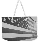 American Flag At Nathan's In Black And White Weekender Tote Bag