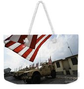 American Flags Are Displayed Weekender Tote Bag