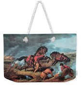 American Prairie Hunters Using Fire Weekender Tote Bag