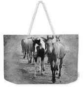 American Quarter Horse Herd In Black And White Weekender Tote Bag