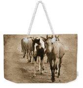 American Quarter Horse Herd In Sepia Weekender Tote Bag by Betty LaRue