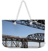 Amtrak Train Riding Atop The Benicia-martinez Train Bridge In California - 5d18835 Weekender Tote Bag