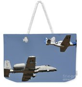 An A-10 Thunderbolt And A P-51 Mustang Weekender Tote Bag