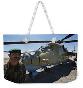 An Afghan Army Soldier Guards An Mi-35 Weekender Tote Bag