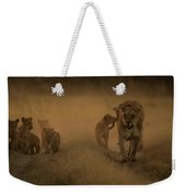 An African Lioness And Cubs, Panthera Weekender Tote Bag