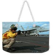 An Airman Gives The Signal To Launch An Weekender Tote Bag