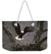 An American Bald Eagle Flies Weekender Tote Bag