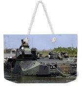 An Amphibious Assault Vehicle Enters Weekender Tote Bag