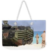 An Amphibious Assault Vehicle Is Guided Weekender Tote Bag