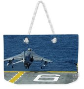 An Av-8b Harrier II Launches From Uss Weekender Tote Bag