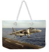 An Av-8b Harrier II Prepares To Land Weekender Tote Bag by Stocktrek Images