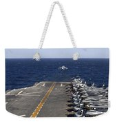 An Av-8b Takes Off From The Flight Deck Weekender Tote Bag