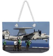 An  E-2c Hawkeye Launches From Aboard Weekender Tote Bag by Stocktrek Images