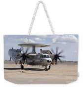 An E-2c Hawkeye On The Runway At Cannon Weekender Tote Bag