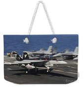 An Ea-18g Growler Lands Aboard Uss Weekender Tote Bag