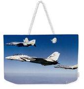 An F-14 Tomcat And Two F-4 Phantom IIs Weekender Tote Bag