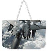 An F-15 E Strike Eagle Receives Fuel Weekender Tote Bag by Stocktrek Images
