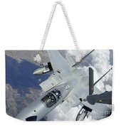 An F-15 Eagle Pulls Away From A Kc-135 Weekender Tote Bag by Stocktrek Images