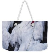 An Ice Climber On Habeggers Falls Weekender Tote Bag