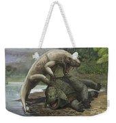 An Inostrancevia Attacks A Scutosaurus Weekender Tote Bag