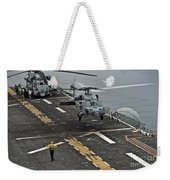 An Mh-60s Sea Hawk Lands Aboard Weekender Tote Bag