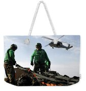 An Mh-60s Seahawk Passes Over Two Weekender Tote Bag