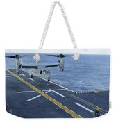 An Mv-22 Osprey Lands Aboard Weekender Tote Bag
