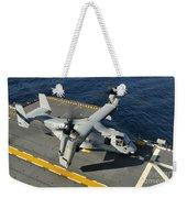 An Mv-22 Osprey Lands Aboard Uss Weekender Tote Bag