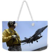 An Officer Observes An Fa-18f Super Weekender Tote Bag