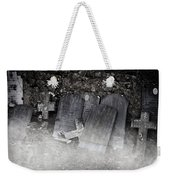 An Old Cemetery With Grave Stones And Fog Weekender Tote Bag