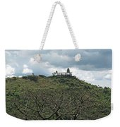 An Old Temple Building On Top Of A Hill With A Lot Of Clouds In The Sky Weekender Tote Bag
