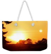 Photograph Of The White Hot Sun On An Orange Horizon With Lens Flare Weekender Tote Bag