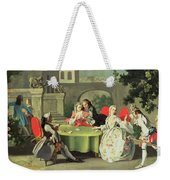 An Ornamental Garden With Elegant Figures Seated Around A Card Table Weekender Tote Bag