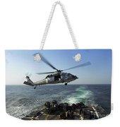 An Sh-60r Sea Hawk Delivers Pallets Weekender Tote Bag