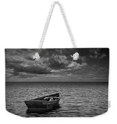 Anchored Row Boat Looking Out To Sea Weekender Tote Bag
