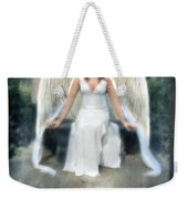 Angel On Stone Bench Looking Up Into The Light Weekender Tote Bag