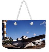 Antique Navy Seaplane Parked In Front Weekender Tote Bag by Michael Wood