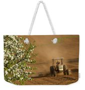 Apple Blossoms And Farmer On Tractor Weekender Tote Bag